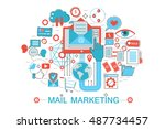 modern flat thin line design... | Shutterstock .eps vector #487734457