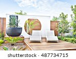 outdoor relaxing area with the... | Shutterstock . vector #487734715