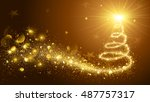 greeting card christmas tree... | Shutterstock .eps vector #487757317