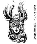 valkyrie unbalanced helmet | Shutterstock .eps vector #487757845