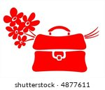 red school bag and blue flowers ...