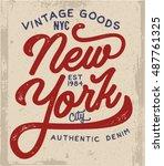 new york t shirt design.... | Shutterstock .eps vector #487761325