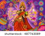 vector design of goddess durga...   Shutterstock .eps vector #487763089