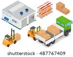 loading or unloading a truck in ... | Shutterstock .eps vector #487767409