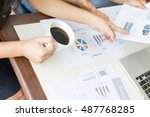 businessman checking graph with ... | Shutterstock . vector #487768285