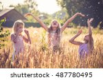 Three Little Girl Enjoying Life