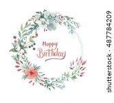 wildflower lily flower wreath... | Shutterstock . vector #487784209