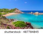cala pregonda beach with golden ... | Shutterstock . vector #487784845
