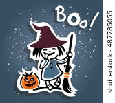 cartoon young witch and pumpkin ... | Shutterstock .eps vector #487785055