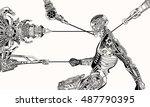 cyborg recharge. | Shutterstock .eps vector #487790395