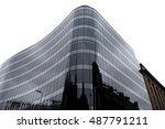 modern glass curved building... | Shutterstock . vector #487791211
