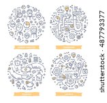 doodle vector illustrations of... | Shutterstock .eps vector #487793377