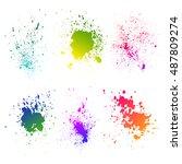 set of watercolor splash on... | Shutterstock .eps vector #487809274