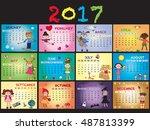 a 2017 annual calendar template.... | Shutterstock . vector #487813399