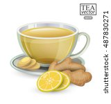 cup of ginger tea with lemon... | Shutterstock .eps vector #487830271