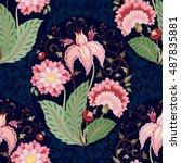 vector floral seamless... | Shutterstock .eps vector #487835881