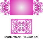 paper cut out card. laser cut... | Shutterstock .eps vector #487836421