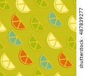 seamless pattern with lemon or... | Shutterstock .eps vector #487839277