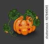 vector halloween pumpkin with... | Shutterstock .eps vector #487840045
