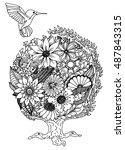 colibri. flowers. nature....   Shutterstock .eps vector #487843315