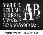 font pencil vintage alphabet... | Shutterstock .eps vector #487844155