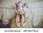 shoes of the bride standing... | Shutterstock . vector #487847821