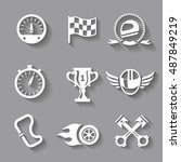 car race icons set with shadow. ... | Shutterstock .eps vector #487849219