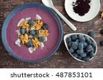 acai smoothie bowl topping with ... | Shutterstock . vector #487853101