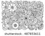 doodle floral pattern in black... | Shutterstock .eps vector #487853611