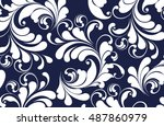 blue background with lacy white ... | Shutterstock .eps vector #487860979