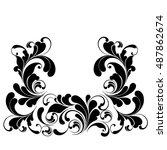 luxury frame. plant pattern... | Shutterstock .eps vector #487862674