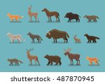 animals icons. wild boar  bear  ... | Shutterstock .eps vector #487870945