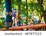 young boy passing the cable...   Shutterstock . vector #487877215