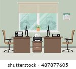 workplace for office workers.... | Shutterstock .eps vector #487877605