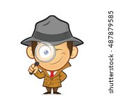 detective holding a magnifying... | Shutterstock .eps vector #487879585
