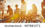 group of friends having fun... | Shutterstock . vector #487881571