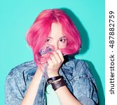 pretty girl with pink hair.... | Shutterstock . vector #487882759