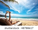 relaxing and reading on the... | Shutterstock . vector #48788617