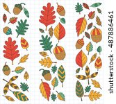 pattern with autumn leaves oak... | Shutterstock .eps vector #487886461