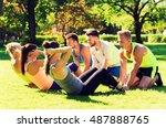 fitness  sport  friendship and... | Shutterstock . vector #487888765