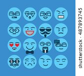 cute blue emoticons set  ... | Shutterstock .eps vector #487893745