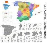 spain high detailed vector map  ... | Shutterstock .eps vector #487897744