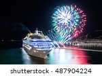 harbor and cruise ship at...   Shutterstock . vector #487904224