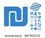 shekel pictograph with bonus... | Shutterstock .eps vector #487905721