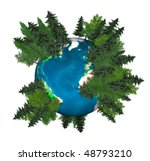 3D Illustration of the Earth globe covered with green trees - stock photo