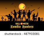 halloween zombie hunters team... | Shutterstock .eps vector #487933081