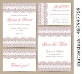 set of wedding cards with... | Shutterstock .eps vector #487947709