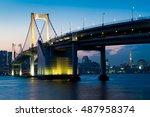 tokyo  japan at rainbow bridge... | Shutterstock . vector #487958374