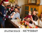 smiling family at the table... | Shutterstock . vector #487958869