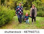 happy family with a cart... | Shutterstock . vector #487960711